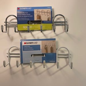Closetmaid Utility hook 2 pack: chrome & white